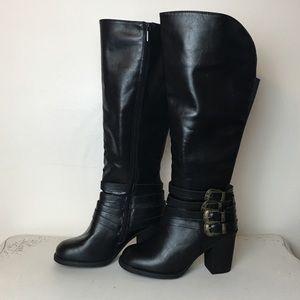 Torrid Multi Buckle Western Knee High Boots 6 Wide